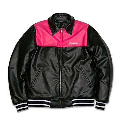 LEATHER COLORBLOCK JACKET_PINK