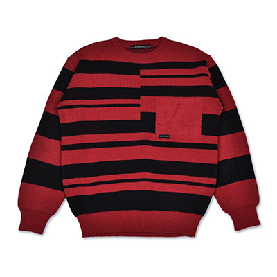 [1월5일 예약배송]IRREGULAR STRIPE KNIT_RED