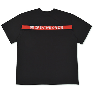 RIB POINT SLOGAN T-SHIRTS_BLACK